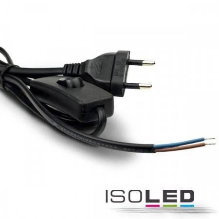 Anschlussleitung 1,5m mit Flachstecker und Wippschalter, schwarz, 230V