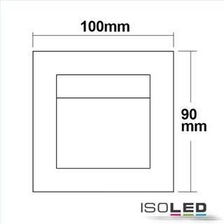 LED Einbauleuchte rechteckig IP44, Edelstahl, 1W, warmweiß, inkl. Einputzdose