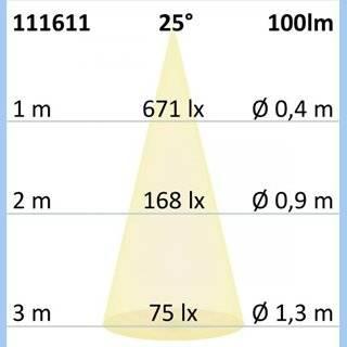 LED Vitrinen-Leuchte, chrom, 3W 25°, kaltweiß