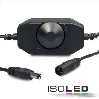 LED Dreh-Controller (Dimmer) schwarz, 2A, max. 48 Watt, Rundstecker Anschluss