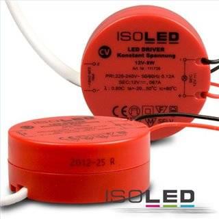 LED Trafo 12V/DC, 0-8W, runde Bauform, SELV