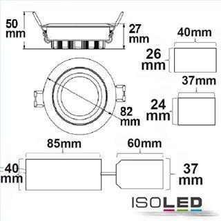 LED Einbaustrahler, weiß, 8W SMD, 120°, rund, warmweiß, dimmbar