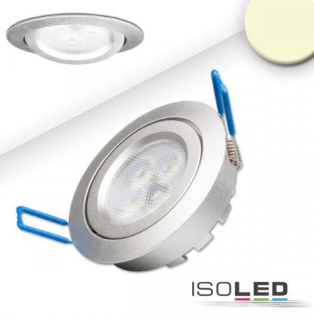 LED Einbaustrahler, silber, 8W, 72°, rund, warmweiß, dimmbar