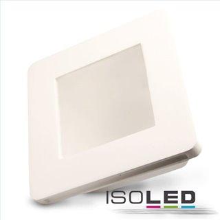Gips-Einbaustrahler GU5.3, quadratisch mit Glas satin, rückversetzt, weiß