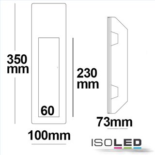Gips-Wand-Einbauleuchte, länglich, GU10, große Bauform