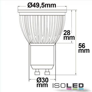 GU10 LED Strahler 6W Glas diffuse, 120°, warmweiß