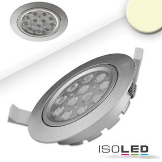 LED Einbaustrahler, silber, 15W, 72°, rund, warmweiß, dimmbar