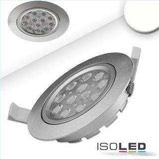 LED Einbaustrahler, silber, 15W, 72°, rund, neutralweiß, dimmbar