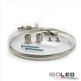 Seilabhängung (2 Stk) für Wannenleuchten mit Deckenverschraubung und Gegenstück inkl. Stahlseil 2,5m
