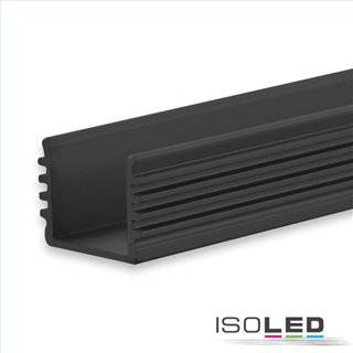 LED Aufbauprofil SURF12 BORDERLESS Aluminium schwarz eloxiert RAL 9005, 200cm