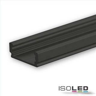 LED Aufbauprofil SURF12 FLAT Aluminium schwarz eloxiert RAL 9005, 200cm