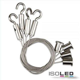 Seilabhängung (4 Stk) mit Deckenverschraubung und Gegenstück mit Haken inkl. Stahlseile 1.000mm