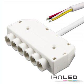 Mini-Plug RGB 6-fach Verteiler female, 1m, 4-polig, IP54, weiß, max. 48V