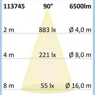 LED Hallenleuchte LN 50W 90°, IP65, 1-10V dimmbar, kaltweiß