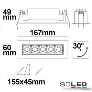 LED Einbauleuchte Raster Line weiß/schwarz, 10W, neutralweiß, schwenkbar