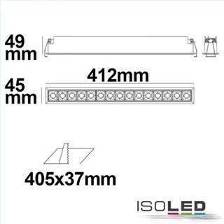 LED Einbauleuchte Raster Line weiß/schwarz , dimmbar, 30W, warmweiß