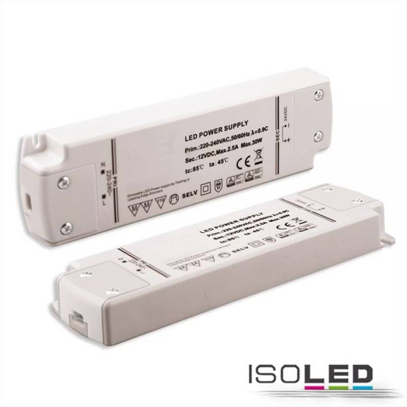 LED Flexband-Trafo 12V/DC, 0-30W, dimmbar (Spannungssenke), SELV