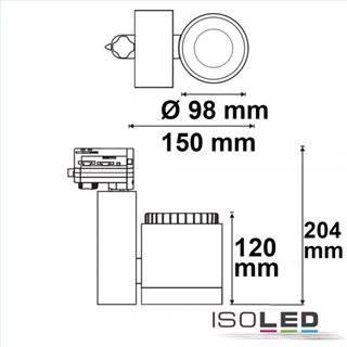 3-PH Schienen-Strahler fokussierbar, 30W, 30°-50°, schwarz matt, warmweiß, dimmbar