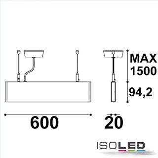 LED Hängeleuchte Linear Up+Down 600, 25W, prismatisch, linear-verbindbar, weiß, warmweiß