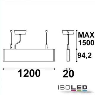 LED Hängeleuchte Linear Up+Down 1200, 40W, prismatisch, linear-verbindbar, weiß, neutralweiß