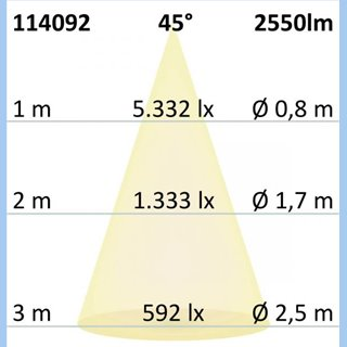 3-PH Raster-Schienen-Strahler, 35W, 45°, weiß matt, warmweiß