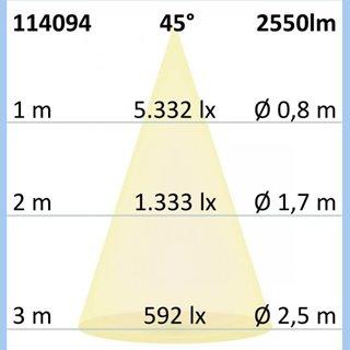 3-PH Raster-Schienen-Strahler, 35W, 45°, schwarz matt, warmweiß