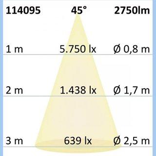 3-PH Raster-Schienen-Strahler, 35W, 45°, schwarz matt, neutralweiß