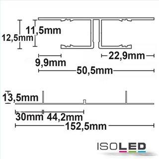 LED Trockenbau-Leuchtenprofil Planar, weiß RAL 9010 200cm