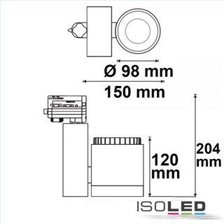 3-PH Schienen-Strahler fokussierbar, 35W, 30°-50°, weiß matt, 3000K, CRI92