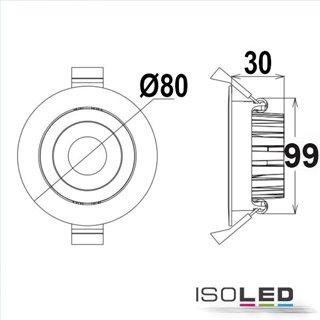 LED Einbaustrahler, weiß, 8W, 36°, rund, warmweiß, IP65, dimmbar