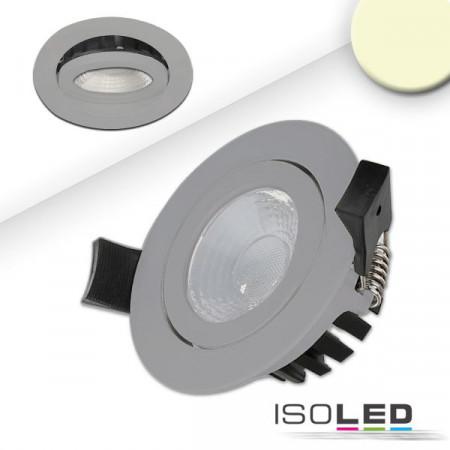 LED Einbaustrahler, silber, 8W, 36°, rund, warmweiß, IP65, dimmbar