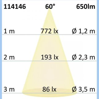 LED Einbaustrahler, silber, 8W, 60°, rund, warmweiß, IP65, dimmbar