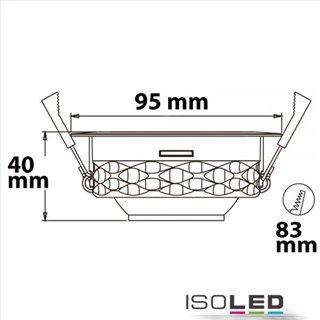 LED Einbaustrahler asymmetrisch COB, weiß, 8W, 50°, IP44, rund, warmweiß, dimmbar