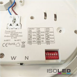 LED Decken/Wandleuchte mit HF-Sensor 24W, quadratisch, IP54, ColorSwitch 3000K|4000K, weiß