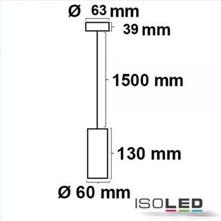 Pendelleuchte 130 GU10, rund, schwarz, exkl. Leuchtmittel