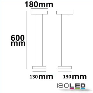 LED Wegeleuchte Poller-3, 60cm, 12W, sandschwarz, warmweiß