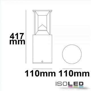 LED Wegeleuchte Poller-4, 40cm, 9W, sandschwarz, warmweiß