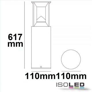 LED Wegeleuchte Poller-4, 60cm, 9W, sandschwarz, warmweiß