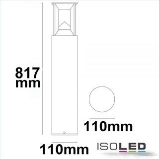 LED Wegeleuchte Poller-4, 80cm, 9W, sandschwarz, warmweiß