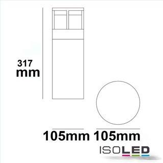 LED Wegeleuchte Poller-5, 30cm, 6W, sandschwarz, warmweiß