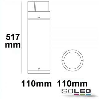 LED Wegeleuchte Poller-6, 50cm, 6W, sandschwarz, warmweiß
