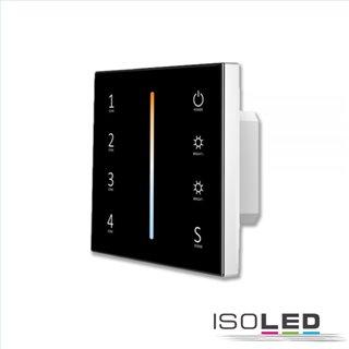 Sys-Pro weißdynamische 4 Zonen Einbau-Touch-Fernbedienung + DMX Output, schwarz, 230V