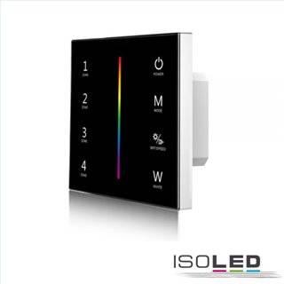 Sys-Pro RGB+W 4 Zonen Einbau-Touch-Fernbedienung + DMX Output, schwarz, 230V