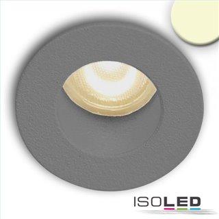 LED Einbauleuchte MiniAMP alu gebürstet, 1W, 24V DC, warmweiß, rückversetzt, dimmbar