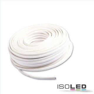 Kabel 25m Rolle 2-polig 0.75mm² H03VVH2-F PVC Mantel weiß, VDE (nicht halogenfrei!), AWG18