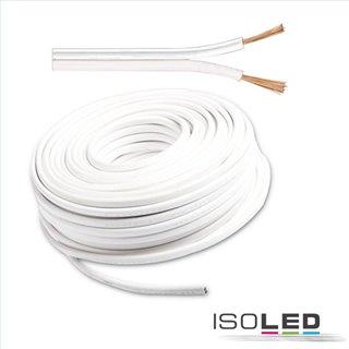 Kabel 25m Rolle 2-polig 0.75mm² H03VH-H YZWL, weiß/weiß, AWG 18