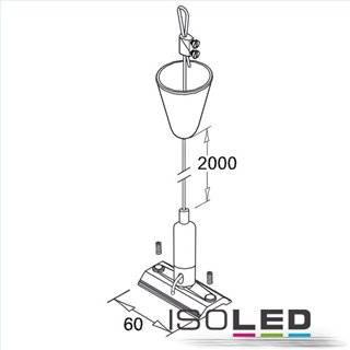 Seilabhängung (1 Stk) für 3ph Stromschiene Classic mit Gegenstück inkl. Baldachin und Stahlseil 2m
