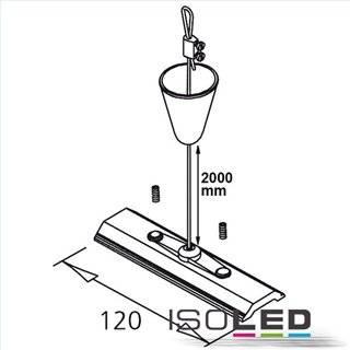 Seilabhängung (1 Stk) für 3ph Stromschiene Classic mit Montageplatte inkl. Baldachin u. Stahlseil 2m