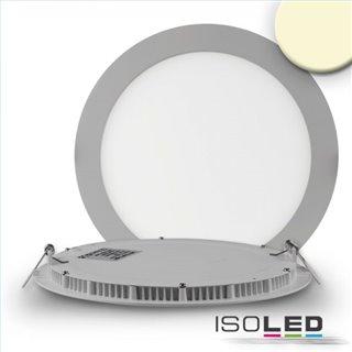 LED Downlight, 18W, rund, ultra flach, silber, warmweiß, dimmbar