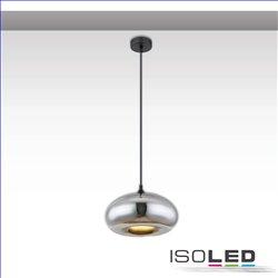 Hängeleuchte Metall schwarz, oval, Glas chrom, 1xE27 Fassung, exkl. Leuchtmittel